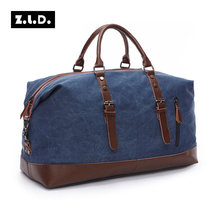 ZLD Canvas Leather Travel Bag Large Capacity Carry on Luggage Bags Weekend Bags Multifunctional Tote Large Duffel Bags Overnight
