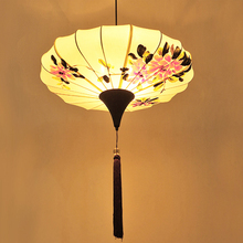 Chinese cloth pendant lamps lights aisle flower restaurant creative hand-painted corridor antique tea lights home lighting ZA
