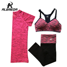 ALBREDA Women Yoga Sport Suit Summer Bra Set 3 Piece Female Short-sleeved pants Outdoor quick drying Sportswear Running Clothes