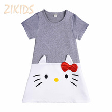 Lovely Hello Kitty Baby Girl Dress Cotton Dresses for Kids Girls Spring Summer Clothes Wear Children Clothing 2017 Sale