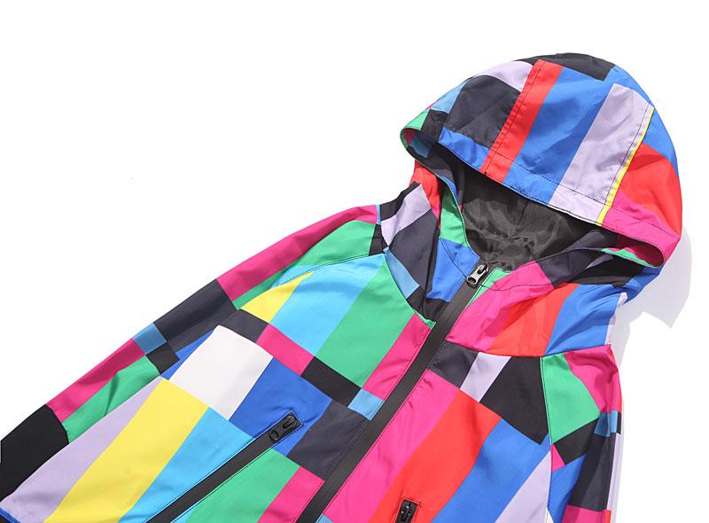 Multi Color Block Patchwork Hooded Zip Up Jacket 2