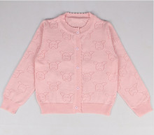 New Fashion Hollow Out Bear Pattern Cotton O-neck Baby Cardigan Long Sleeve For Girls Air Conditioning Shirt 1-5Y AS-1595