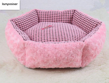 Comfortable Beautiful sweet Rose Cashmere style pet bed,Puppy Teddy Little Pet Cat Dog Sleeping Beds cat house sofa(China)