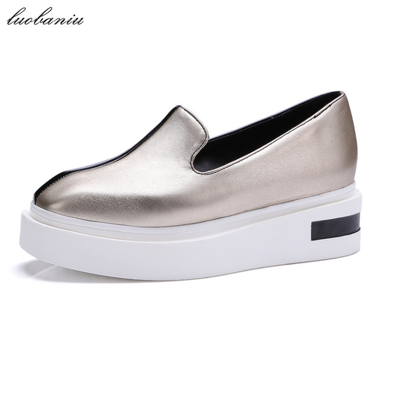 35-43 Flat Shoes Women Loafers Moccasins Women Spring Autumn Shoes Creepers Plus Size High