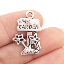 BULK 30pcs Zinc Alloy Metal Love My Garden Charms Antique Silver Tone Flower Pendants for DIY Jewelry Making 14*22mm 1.2g(China)