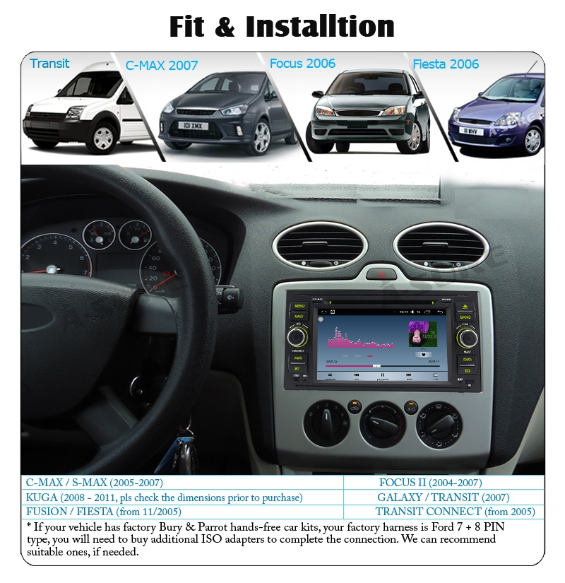 A-Sure 7″ Android 6.0 DAB+ DVD sat nav GPS Radio Player for FORD TRANSIT C-MAX S-MAX FOCUS GALAXY FIESTA FUSION Navigation WiFi