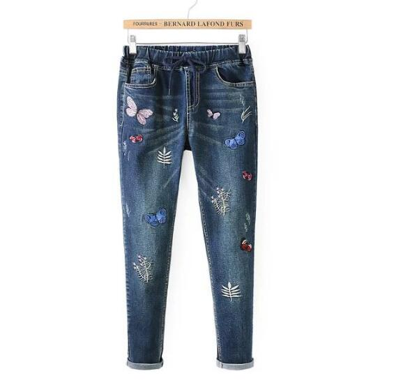 Pink butterfly embroidery Drawstring Elastic waist Jeans mori girl AutumnОдежда и ак�е��уары<br><br><br>Aliexpress