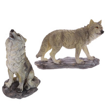 1Piece Large Size Decorative Wolf Standing on Rocks Figurine Statue Wildlife Animal Wolves Timberwolves Collection