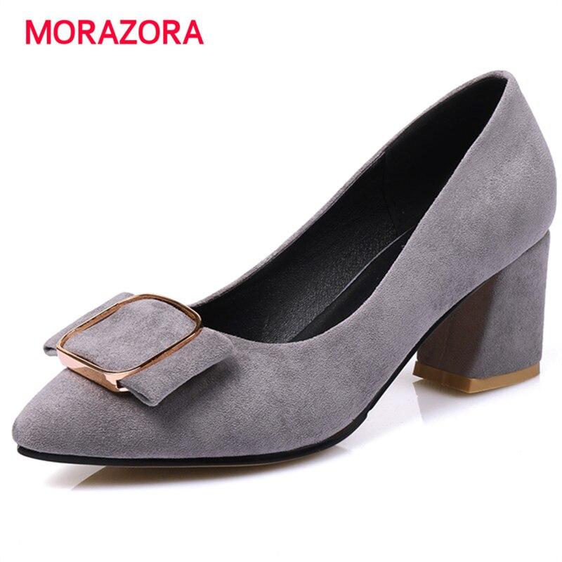 MORAZORA Flock shoes woman pumps pointed toe elegant party work shoes elegant solid high heels shoes big size 34-48<br>
