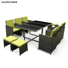 iKayaa 11PCS/10-Seater Rattan Patio Garden Dining Set Furniture Cushioned Outdoor Dining Table Chair Sofa Set Green Red US Stock