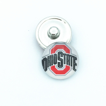 15pcs/lot DIY Ohio State Buckeyes Football Sports Snap Button for 18mm Snap Bracelet Jewelry fit Fans