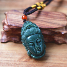 (certificate)100% Natural Green Stone Pendant Carved Bodhisattva Guanyin Buddha Head Pendant Necklace Women Men's Jewelry