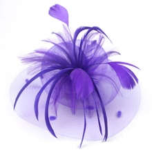 Women Wedding Veil Feather Fascinator Hair Clip Flower Mesh Hairpin For Lady Bride Party Women Headpiece Rose Pink Green Purple