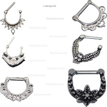 6 pcs Nose Rings Nose Septum Clicker 316L Stainless Steel Septum Clicker Hinged Wings Rose Nose Rings Studs Sale 2016 Women Men(China)