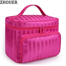 Woman Cosmetic Bags Striped Pattern Organizer Makeup Bag Folding Travel Toiletry Bag Large Capacity Storage Beauty Bag ZL900Z(China)
