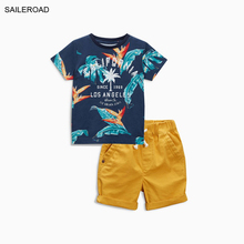 SAILEROAD Summer Cotton Baby Kids Boy's Clothing Set New Leaf Pattern Infant Boys Vacation Garments Suits For Children Boy Suits(China)