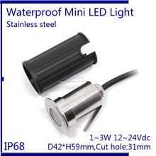 Mini 1/2/3W Small Pool Light DC12-24V Underwater Lamp IP68 stainless steel material Spa Lamp RGB ,white ,warm white 3pcs/lot