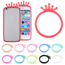 New Universal Girl Soft Silicone Protector Bumper Frame With Crown Case Cover Ring For iPhone For Sony For Samsung For NOKIA(China)
