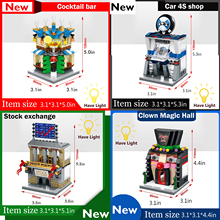 4PCS/Set Mini Street View Building Block City Toys Auto shop Magic Point Bar stock exchange SD6528 29 30 31 Free shipping