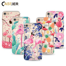 Caseier Hot Selling Case For iPhone 7 8 Plus Flamingo Unicorn Cover For iPhone 8 7 Shell Exotic Transparent Soft TPU Couque Capa(China)