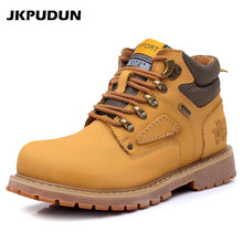 JKPUDUN Fashion Genuine Leather Men Boots Casual Shoes Brown Luxury Brand 2017 Autumn Winter Handmade Male Ankle Boots Army Bot