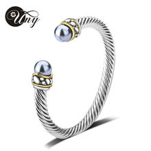 UNY Bangle Twisted Wire Bracelet Antique Cable Bangles Luxury Designer Brand Imitation Pearl Christmas Gift Women Cuff Bracelets(China)