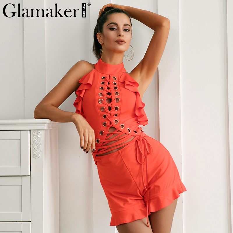 Glamaker Halter backless sexy jumpsuit romper Women ruffle lace winter jumpsuit playsuit Hollow party female overalls