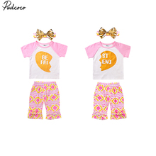 Best Friend Outfits 1-6T Toddler Kids Baby Girl Clothes T-shirt Geometric Printed Match Pants Headband Outfit Kids Casual 3pcs
