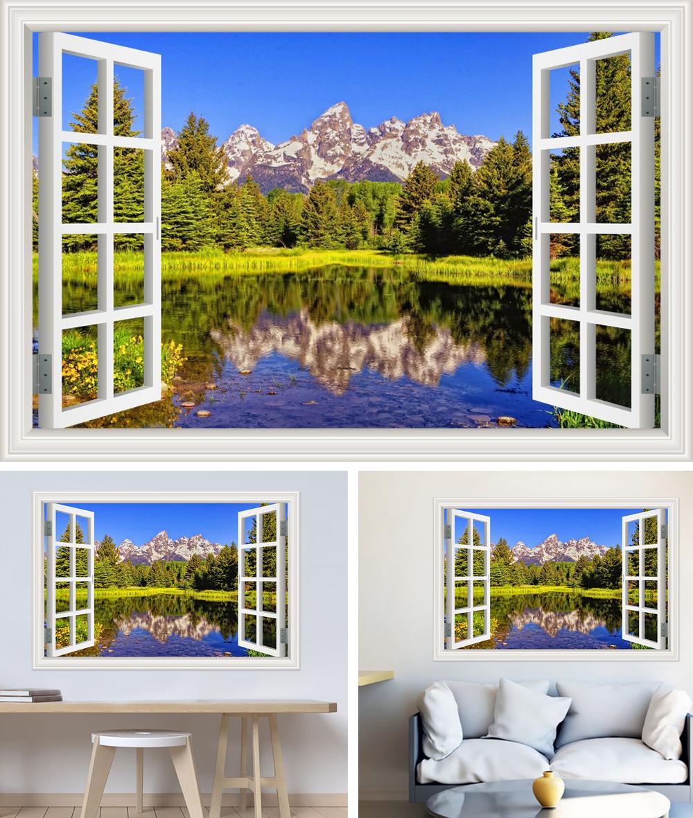 HTB1gVrQh0nJ8KJjSszdq6yxuFXaj - Modern 3D Large Decal Landscape Wall Sticker Snow Mountain Lake Nature Window Frame View For Living Room