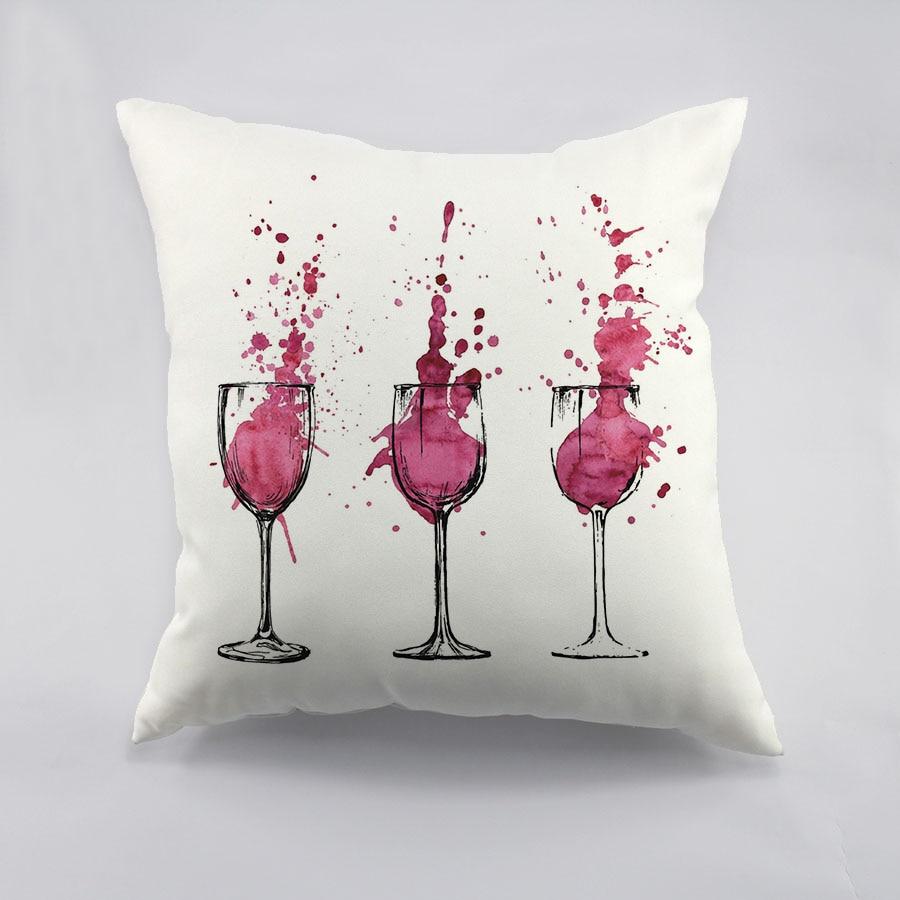 Goblet Design Throw Pillowcase Red Wine Color Cottom Liene Cushion Cover Home Car Decoration Throw Pillow & Online Get Cheap Handmade Cushion Designs -Aliexpress.com ... pillowsntoast.com