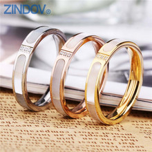 Trendy Jewelry Women Finger Rings Wedding Stainless Steel Gold Silver Natural Shell Cubic Zirconia Rose Gold Rings For Womens(China)