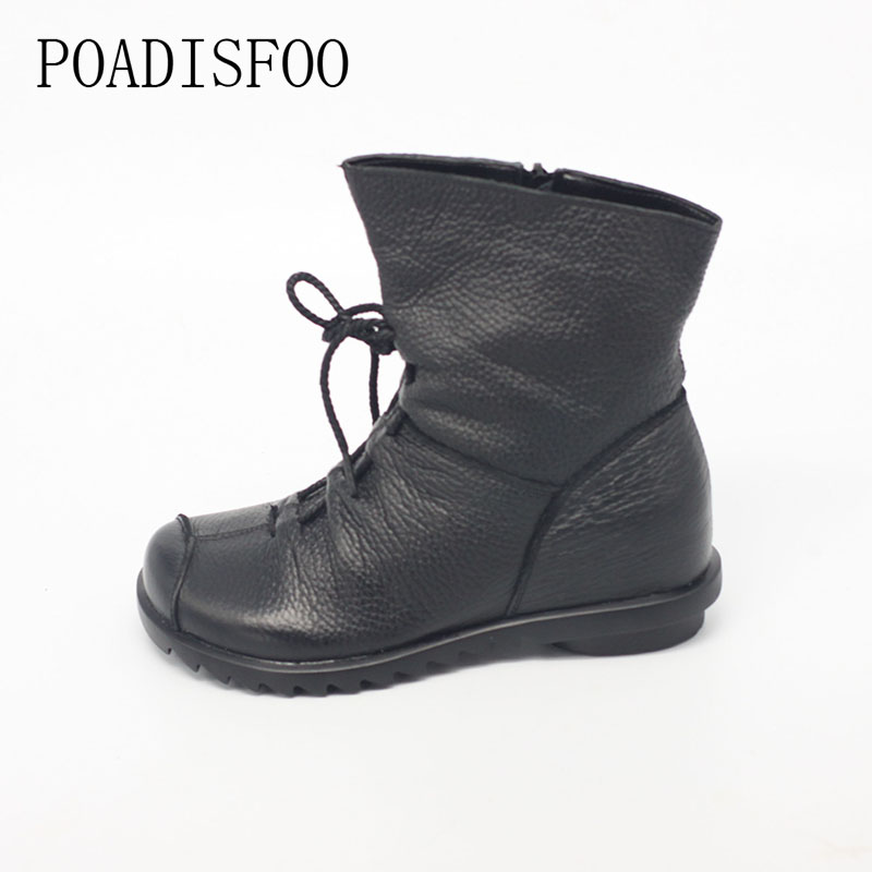 POADISFOO Genuine Leather Women Shoe Martin Boots  Ankle Shoes Vintage Casual Shoes Design Retro Handmade Women Boots .ZXW-1806<br>