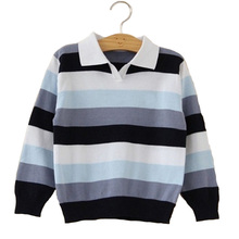 Winter 1pcs High-quality Kids Girl Boys Sweater Brand Kids Striped Knit Pullover Classic Style Children Warm Cardigans Sweater(China)