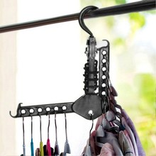 Clothes Hanger With Hooks Foldable 360 Degree Rotation Space Saving Black Hanger Plastic Collapsible Magic Closet Organizer(China)