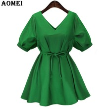 Summer Pleat V Neck Green Mini Dress for Women Short Sleeve Casual Orange Cotton Blue Girls Lolita Fashion Robes Femme with Belt