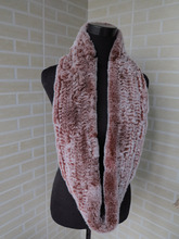 Genuine rex rabbit fur  circle scarf wrap cape orange red with white tips