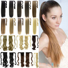 Synthetic Hair Long Clip In Ribbon Ponytail Hair Extensions curly Hairpiece Fake Hair pony Tails ponytails hair pieces