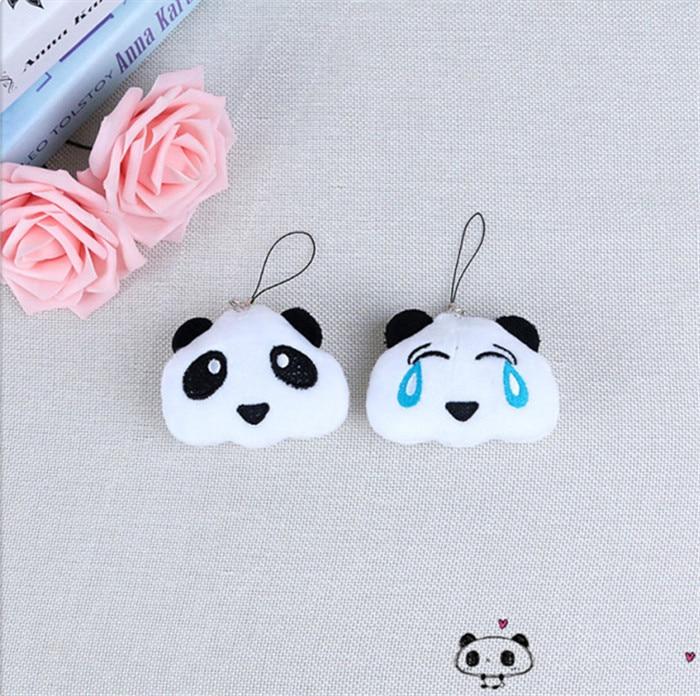Fashion Panda Emoji Plush Toys Key Chain Ring Pom Bear Keychain Woman Bag Charms Man Car Keyring Wedding Party Trinket Jewelry (8)