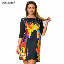 fashionable Digital Printing autumn women dresses big sizes 2017 casual o-neck Loose Dress plus size women clothing 6xl vestidos