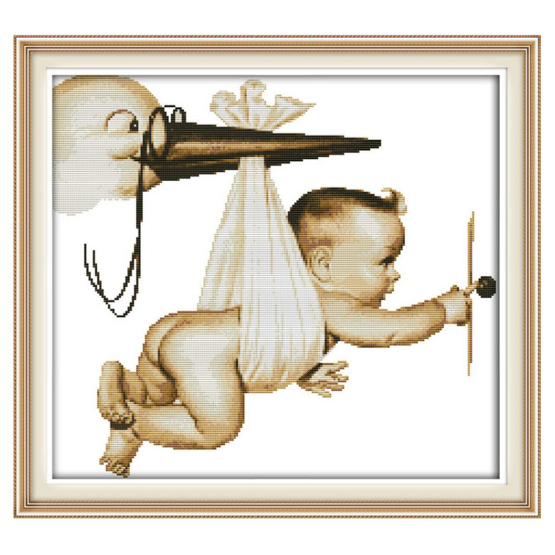 Flying Baby Patterns Counted Cross Stitch 11CT 14CT Cross Stitch Sets Wholesale Chinese Cross-stitch Kits Embroidery Needlework