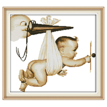 Flying Baby Patterns Counted Cross Stitch 11CT 14CT Cross Stitch Sets Wholesale Chinese Cross-stitch Kits Embroidery Needlework(China)