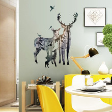 % Vintage Forest Deer Birds Wall stickers For Bedroom Window Photo Restaurant Office Home Decor Wall Decals Art Mural Poster