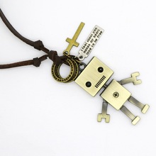 2017 Brand Fashion Jewelry Men's Bear Necklace Punk Fashionable Design Adjustable Robot Pendant Necklace Retro Jewelry Woman