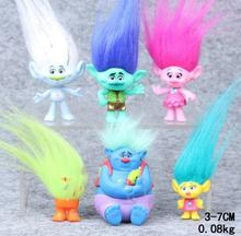 Trolls Poppy Movie 6Pcs/Set 3-7cm Anime Action Figure Collectible Dolls Poppy Branch Biggie PVC Figures Doll Trolls Figures Toys