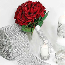 10 Yards Silver Crystal Diamond Mesh Rhinestone Ribbon for Wedding Party Gift Vase Floral Decoration Products Decor