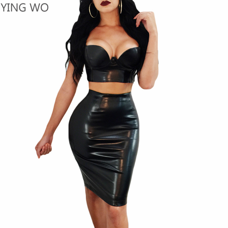 S-6XL Plus Size Women Fashion Set Sexy Adjustable Spaghetti Straps Deep V Neck Underwire Crop Tops Back Zipper Slit Pencil Skirt