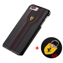 Luxury PU Leather Case For iPhone 6 6S 6Plus 6S Plus 7 7 Plus Slim Hard PU Case Cover with Ferrari Logo Phone Ring Holder