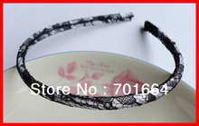 BARGAIN for BULK black lace see-through 7mm white fabric wrapped plain plastic hair headbands at free shipping(China)