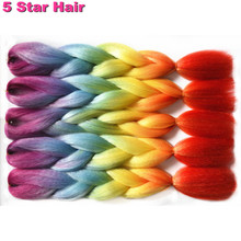 "5-10pcs 24"" 100g/pc Full Star Ombre Rainbow Color  Jumbo Braiding Synthetic Hair Extensions For Braiding hair Crochet braids"