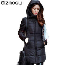 New Long Winter Jacket Women Slim Female Solid Coat Down Cotton Clothing Thicken Parka Red Hooded Jackets Student Wear SY280